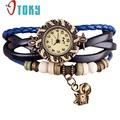 Excellent Quality 2016 Fashion Hot Colorful Vintage women watches Weave Wrap Rivet Leather Bracelet wristwatches Relojes