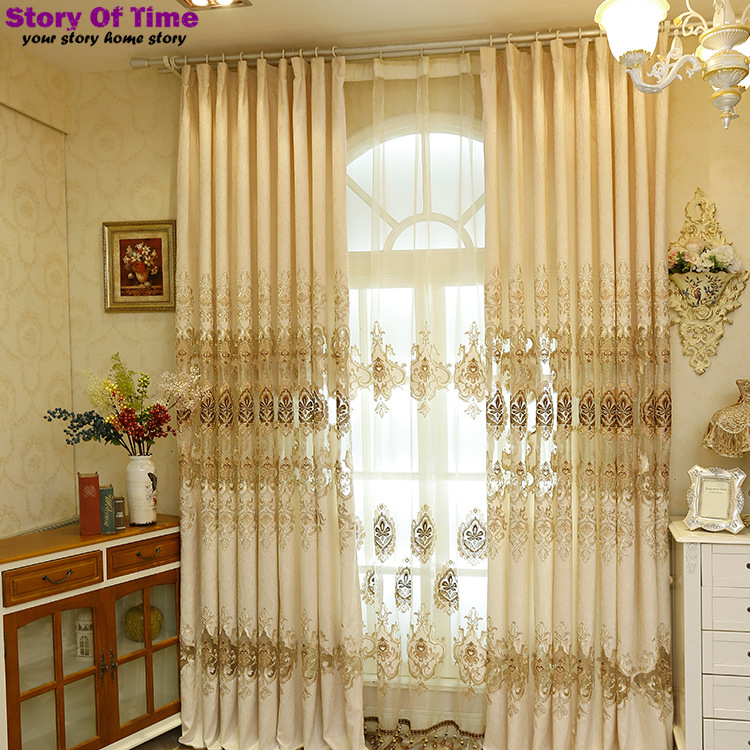Drapes insulated blackout curtains embroidery style decoration curtains for living room lace curtains 3D window curtain(China (Mainland))