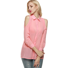 Buy Cold Shoulder Long Sleeve Women Blouse Feminine Shirt Femininas Top Clothing Female Clothes Chemise Femme Lady Tunic Autumn 2016 for $9.28 in AliExpress store