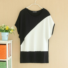 Women t shirt long summer style tshirts lady high elastic average size t-shirt modal cotton bat-wing sleeve contrast color loose