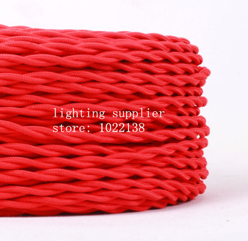3 cores different colors braided textile fabric cable 3*0.75mm cloth coated silicon cable DIY vintage pendant lamp cloth wire(China (Mainland))