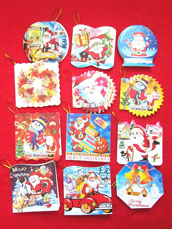 100pcs Christmas Cards Christmas tree decorations Christmas card ornaments New Year festive Supplies Wholesale Free Shipping OL2(China (Mainland))