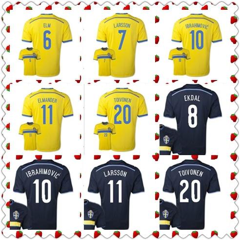 New Season 2014/16 European nations cup Sweden Ibrahimovic Larsson Lustig Elm Larsson Toivonen Yellow Blue Jerseys Soccer Jersey(China (Mainland))