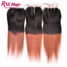 Buy Ombre Virgin Hair Two Tone #1b/33 Dark Roots Brazilian Straight Hair 1pc free Middle 3 part Lace Closure Ombre Hair Extensions for $21.68 in AliExpress store