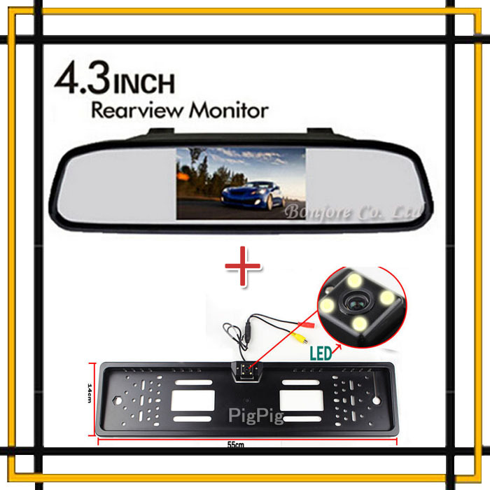Vehicle 4.3 TFT LCD Car Reversing Mirror Monitor for DVD Auto 170 Europe License Plate Frame Camera Rear View Parking Assistance(China (Mainland))