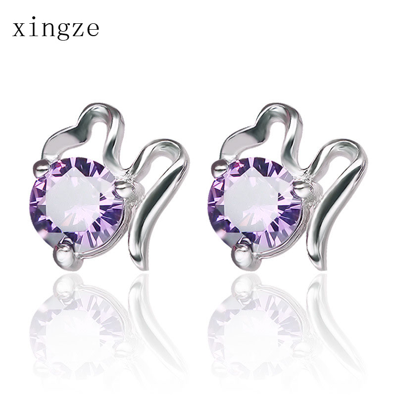 Super Flash Fashion Amethyst CZ Diamond Clouds Silver Plated Stud Earrings Women Party Ear Jewelry Wholesale(China (Mainland))