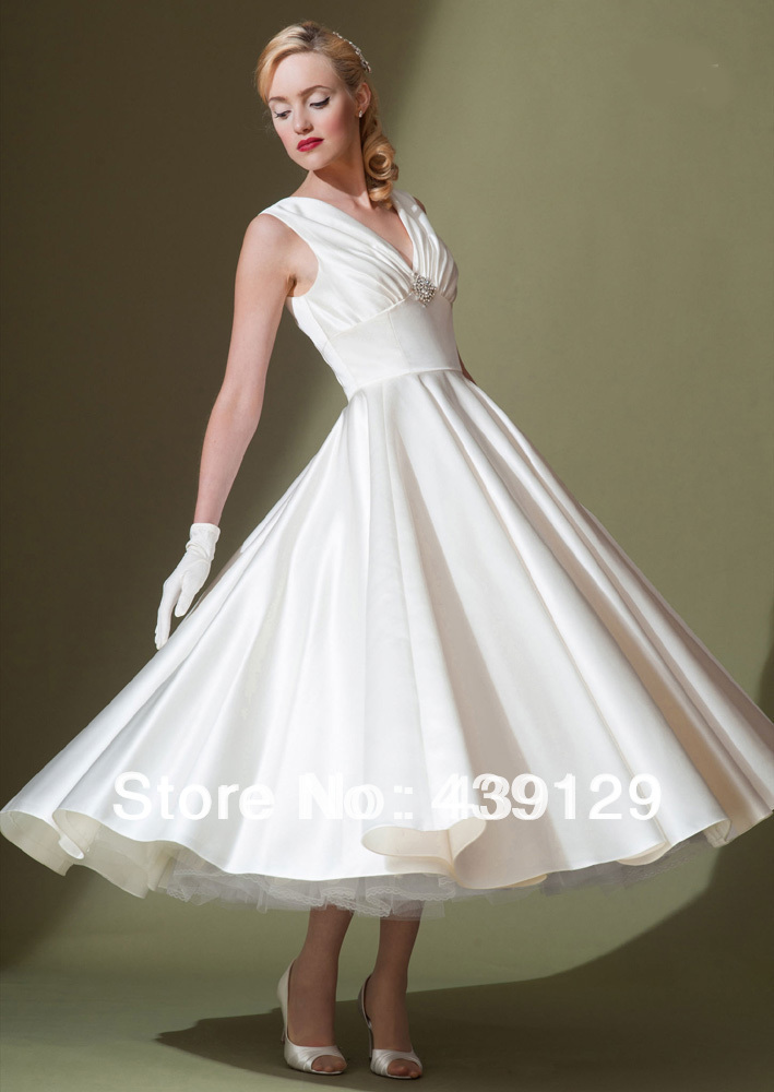 V neck soft satin ankle length thick simple but elegant for Simple ankle length wedding dresses