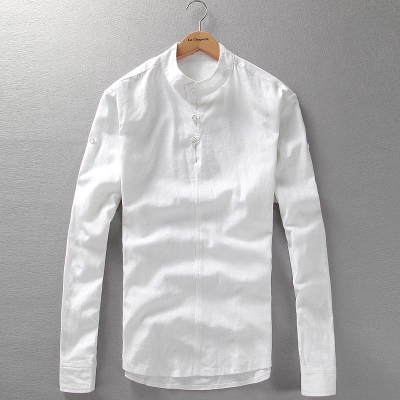 Mens collarless shirts linen artee shirt for Mens long sleeve pullover shirts