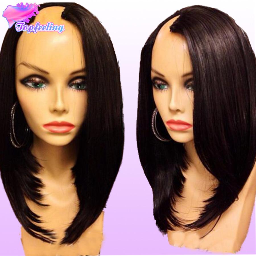 7A Brazilian U Part Human Hair Wigs Virgin Short Bob U Part Human Hair Wigs For Black Women Silky Straight Glueless U Part Wigs