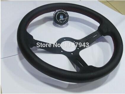 Hot Selling Free shipping genuine leather black steering Wheel Racing wheel 14 inch universal steering Wheel(China (Mainland))