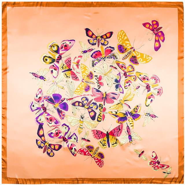 90 см * 90 см европейский бежевый цвет красивая бабочка печатный фирменное женщины шелковый атлас большой косынка
