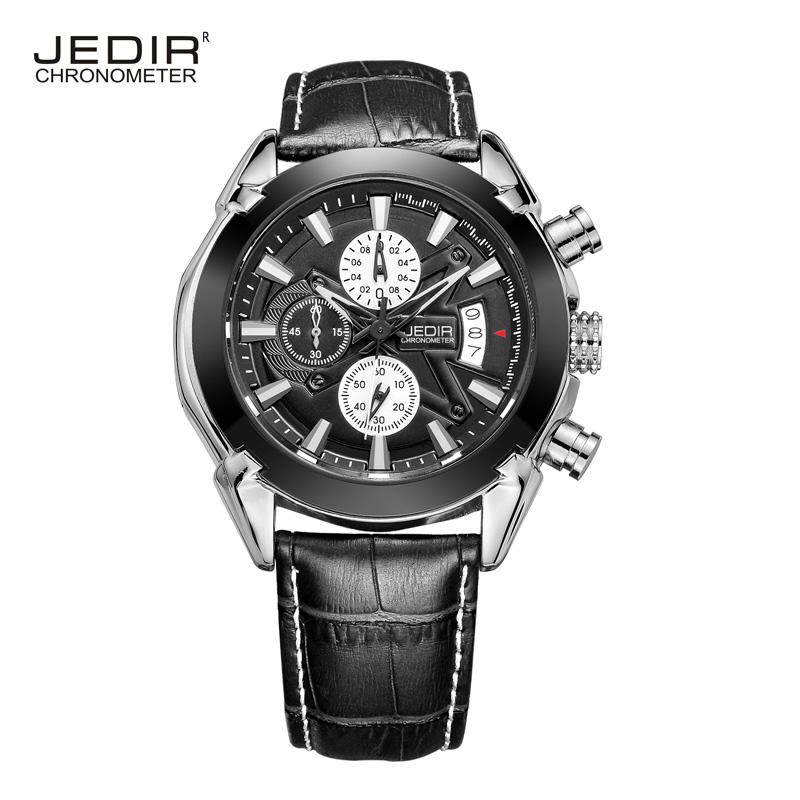 JEDIR brand luxury automatic men's watch quartz watch Fashion sports outdoor climbing genuine leather waterproof watch for men(China (Mainland))