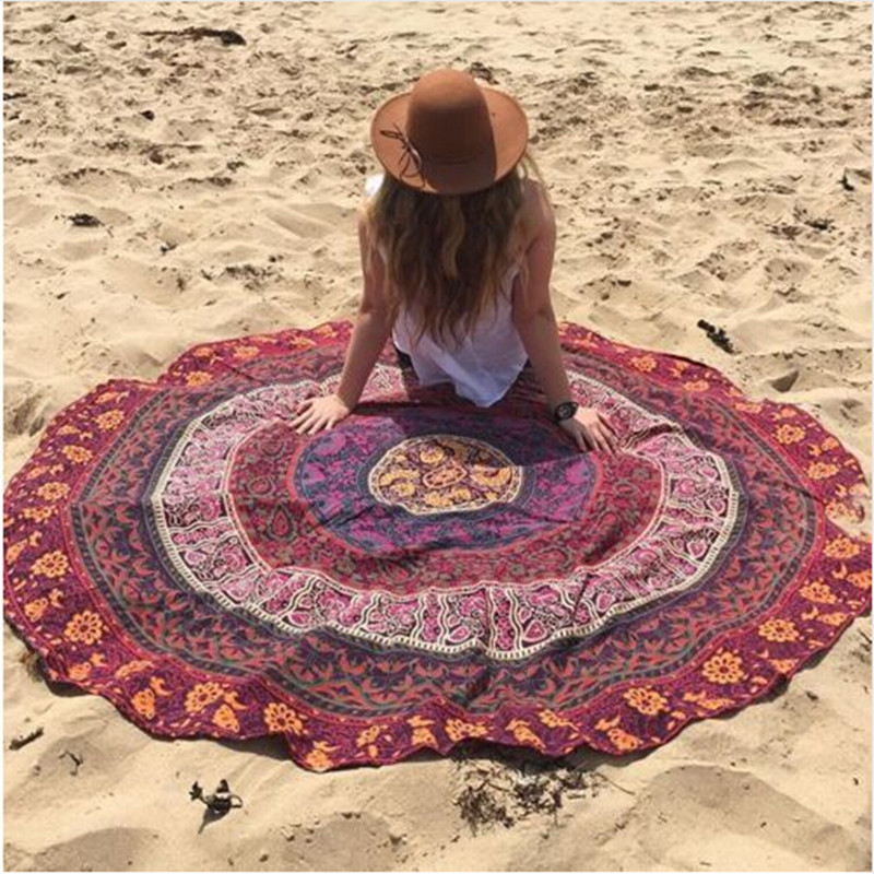 2016 Round Beach Towel Chiffon Summer Swimming Sunbath pad Women plage de sable tapis Tapestry Scarf Print Peacock Square(China (Mainland))
