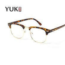 YUKII Eye Glasses Farme For Women Brand Designer Retro Cat Eye Men Glasses Black Frame Clear Lens Vintage Eyewear High Quality