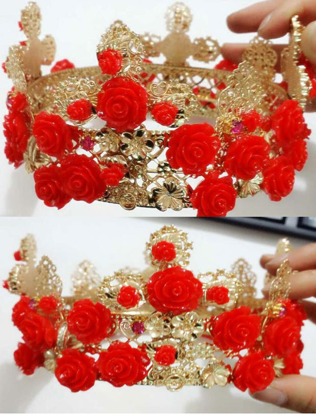 New Fashion Large Red rose flower rhinestone Crown Baroque Metal Cutout Cross Tiara Women headband luxury hair accessory