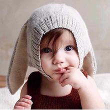 Spring Autumn Baby Girls Boys Knitted Hats Infant Cute Rabbit Long Ear Hat Soft Crochet Baby Bunny Hats Baby Bonnet Photo Props