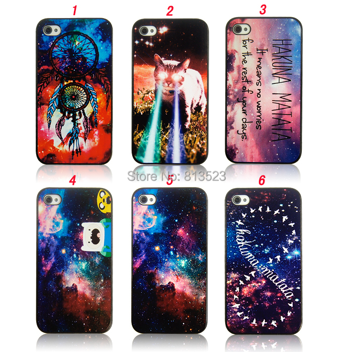 iPhone 4s 5c 5 5s SE 6 6s 7 Plus Beautiful Starry Sky Cosmic Space Galaxy cat Hard Plastic Case Back Cover - WIN/WIN Store store