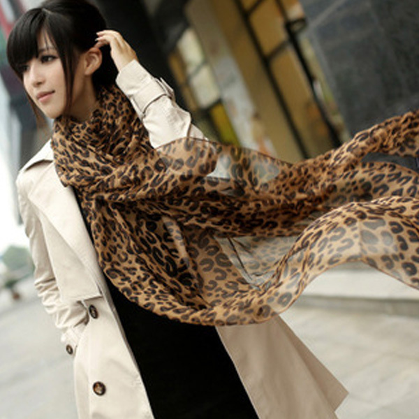 Chic Lady Long Chiffon Scarf Leopard Shawl Pashmina Stole Neck Scarf Soft Wraps(China (Mainland))