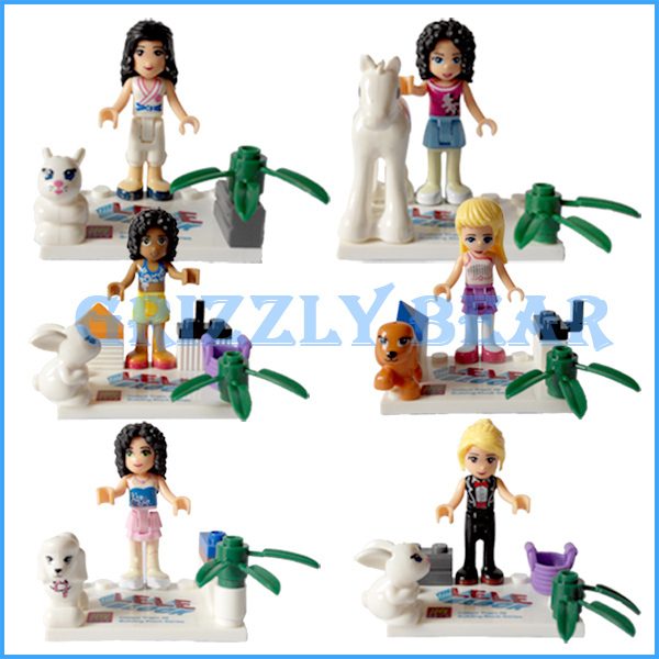6 lele friends series frozen minifigures building blocks figures toys compatible lego