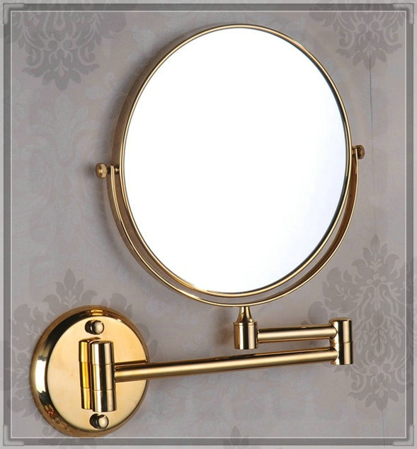 torneira press 8 Inch Double Side 3x Solid Brass Gold Extend Arm Shave Makeup Bath Mirrors / Bathroom Sanitary Accessories (UP-M(China (Mainland))