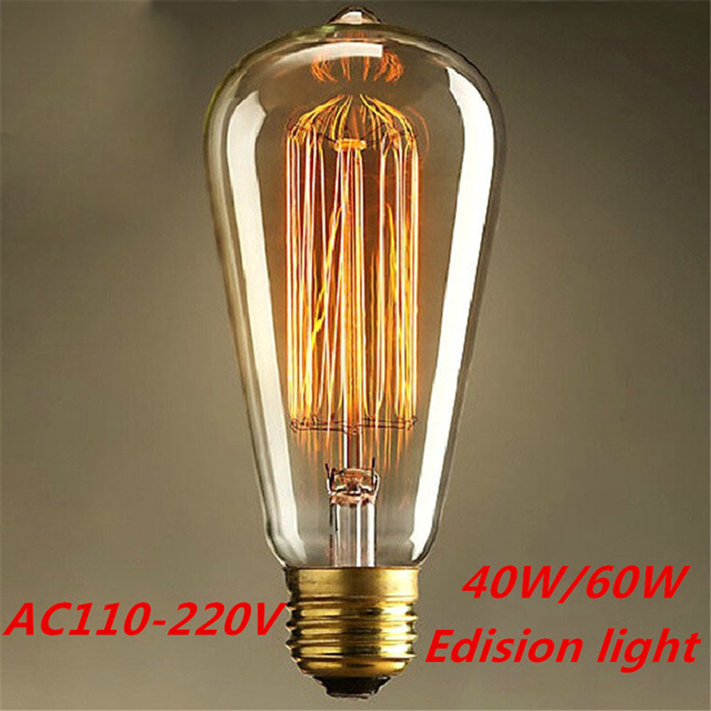 10PCS E27 110V/220V 40W/60W Vintage Antique Edison Style Carbon Filament Bulb ST64 Edison Bulb Light Incandescent Bulb Lamp(China (Mainland))