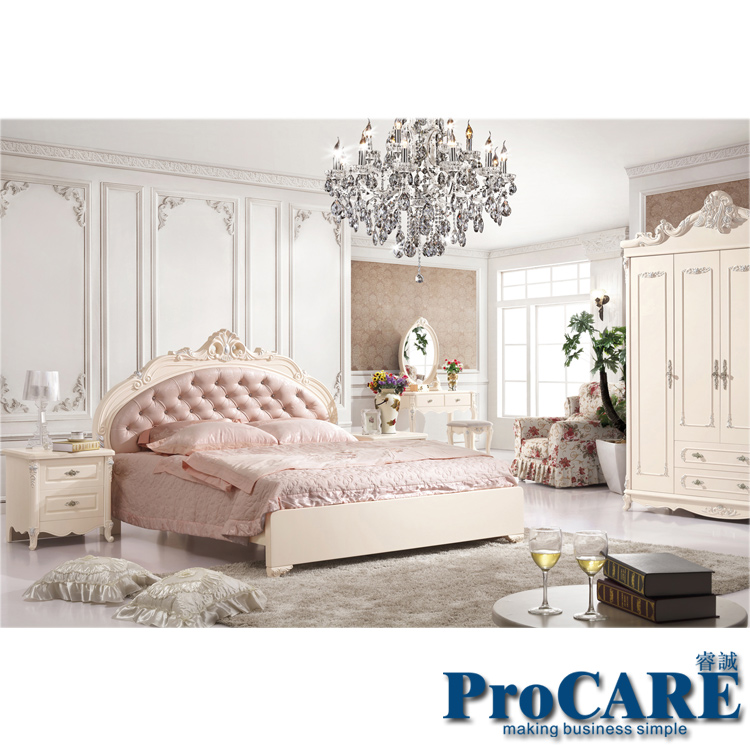 hot sale european pink style solid wood hand-carved modern princess bedroom furniture set from foshan furniture market(China (Mainland))