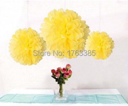 12PCS Mixed Sizes Yellow Tissue Pom Poms Paper Flower Pompoms Wedding Birthday Party Home Decoration(China (Mainland))