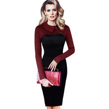 Womens Vintage Tartan Colorblock Lapel Long Sleeve Wear to Work Business Casual Office Party Sheath Pencil Dress
