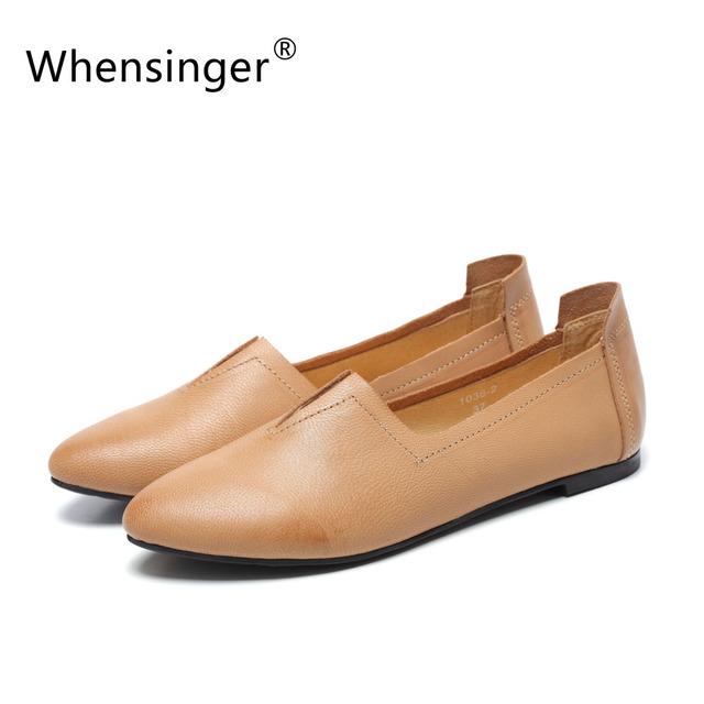 Whensinger-2016 Весна Осень женская Кожаная Обувь Ручной Работы Арт Фан Отметил Плоские ...