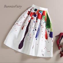 BunniesFairy Brand 2016 Spring Summer New Ladies Elegant Fashion Graffiti Print High Waist White Long Midi Skirt Holiday Wear(China (Mainland))