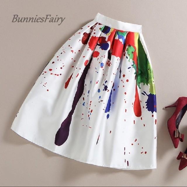Bunniesfairy марка 2016 весна лето новый дамы элегантный мода граффити печать талия ...