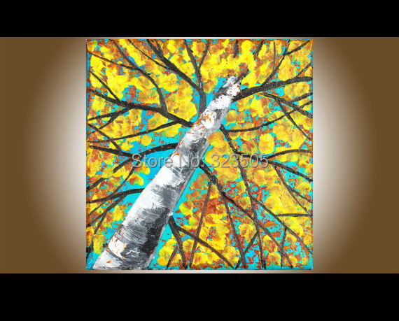 large panel canvas wall art cheap Modern abstract knife paint tree yellow decorative picture oil painting on canvas(China (Mainland))