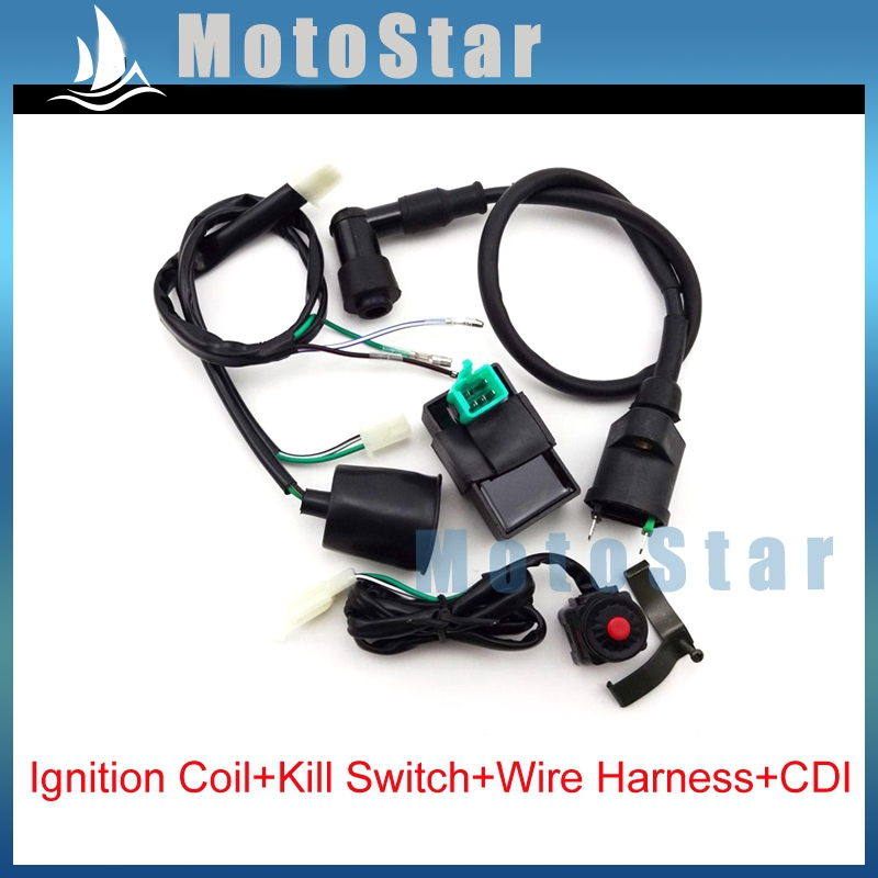 Wiring Loom Harness + Kill Switch + Ignition Coil + AC CDI For 50 70 90 110 125 140 150 160 cc Engine Chinese Pit Dirt Bike(China (Mainland))