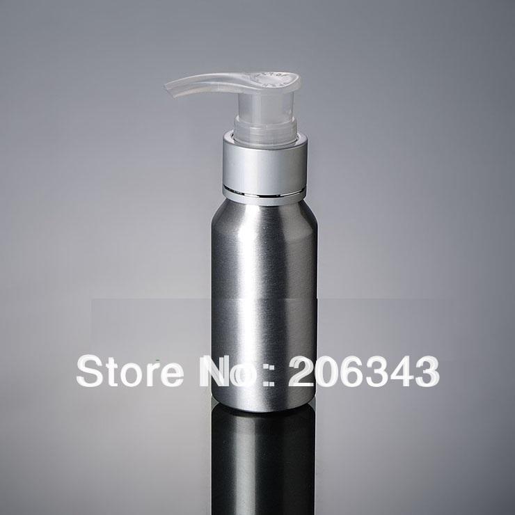 100pcs 100ml Aluminium bottle pump bottle with transparent pump