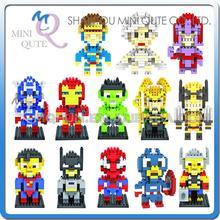 Mini Qute WTOYW LOZ Marvel super hero The Avengers Captain America X-Men diamond plastic building blocks educational toy(China (Mainland))