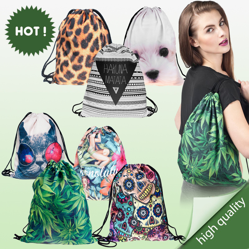 2015 new fashion escolar backpack 3d print travel softback man wonmen harajuku drawstring bag unisex backpacks(China (Mainland))