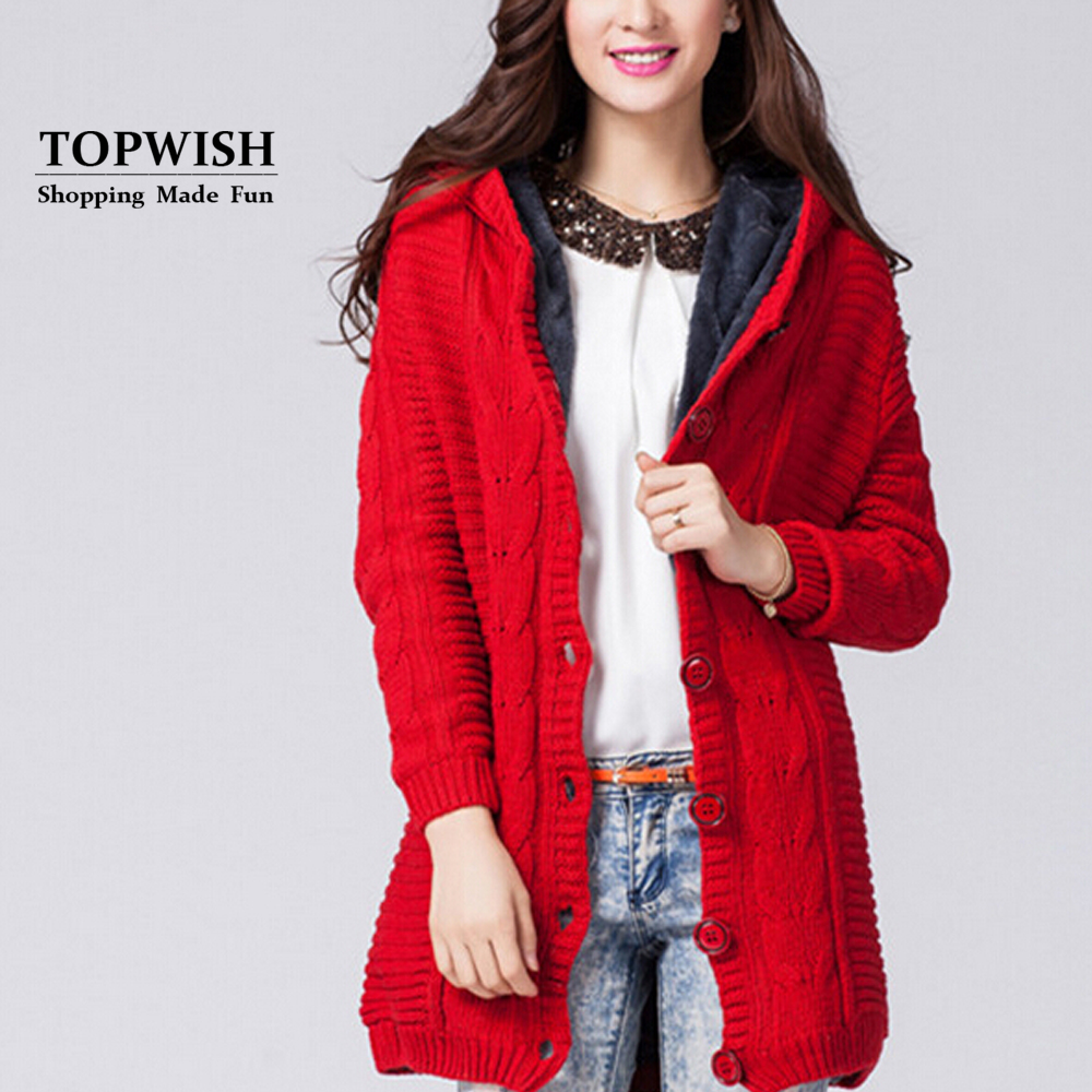 Warm Thick Lining Hooded Coat Luxury Lining Cardigans Casual Hooded Wool Blend Sweater Winter Jacket TFP842(China (Mainland))
