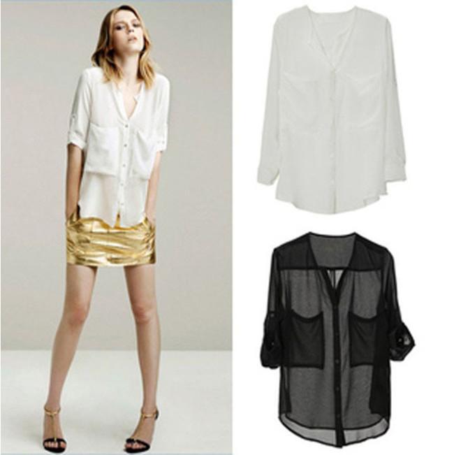 Корейский стиль шифон рубашка дамы свободного покроя блузка