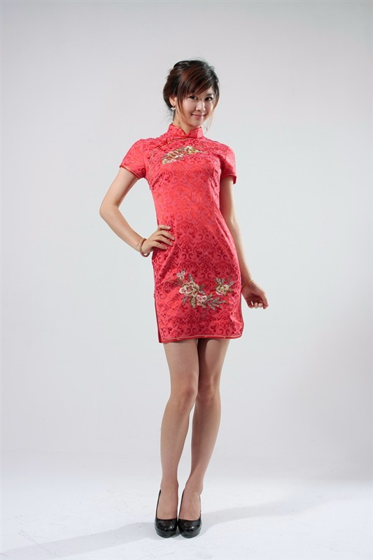 New Fashion Designer Red Female Cotton Dress Chinese Traditional Qipao Top Embroidery Cheongsam Floral Size S M L XL XXL S021-EОдежда и ак�е��уары<br><br><br>Aliexpress