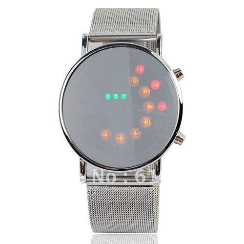 Creative Unisex Muticolours Binary LED watches Men's Woman Light Dot Matrix Mirror face Aviation Wrist Watch Gift Date relogio(China (Mainland))