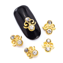 10 Pcs/Lot 3D Rhinestones For Nails Gold Special Shape Design Nail Decoration Manicure Accessories TN2022(China (Mainland))