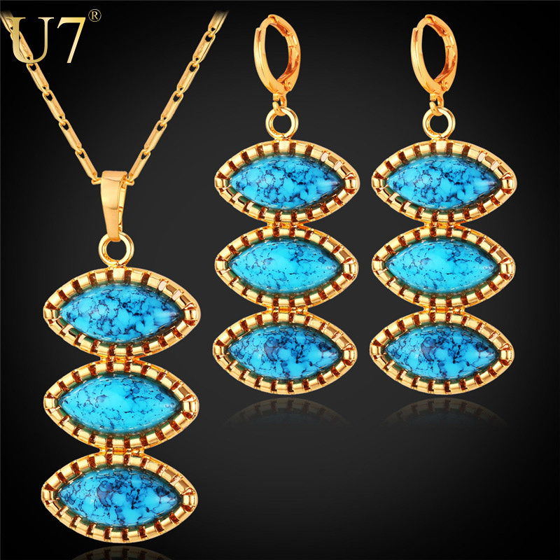 Turkish Jewelry Set For Women Platinum/Gold Plated Turquoise Jewelry 2015 New Trendy Earrings And Necklace Set For Women S696(China (Mainland))