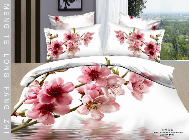 Hot Beautiful 100% Cotton 4pc Doona Duvet QUILT Cover Set bedding set Full / Queen/ King size 4pcs nice white flowers