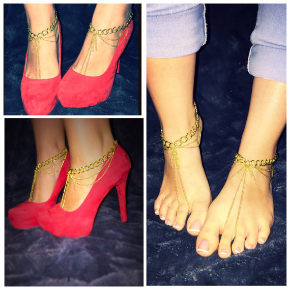 Gold Chain barefoot sandals Foot jewelry hippie sandals anklet