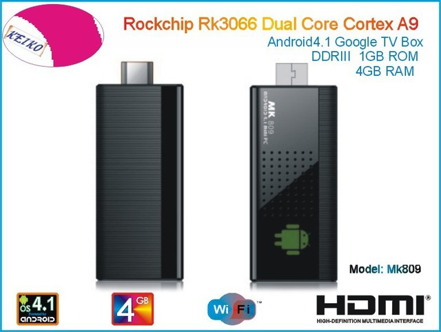 MK809 Android 4.1 Mini PC TV Stick Rockchip RK3066 1.6GHz Cortex A9 Dual core 1GB RAM 4GB MK809 3D TV Box