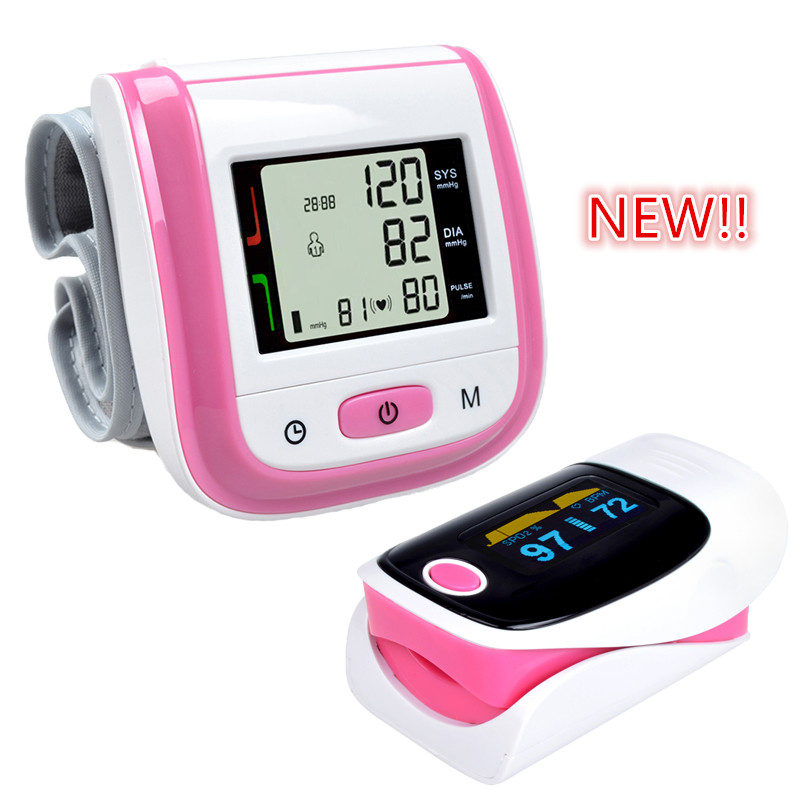 Health Care Pink LCD Digital Wrist Blood Pressure Monitor Tonometer+CE FDA Fingertip Pulse Pink Oximeter Oximetro Alarm Setting(China (Mainland))