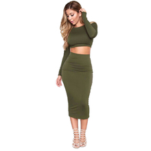 Buy Women Autumn Knitted Set Skirt Knit Crop Top Long Sleeve Backless Cross Stap Bodycon Bandage Pencil 2 piece Dress Sets for $9.80 in AliExpress store