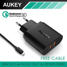 AUKEY 36W Dual USB Port Travel Wall Charger With Qualcomm Quick Charge 3.0 for Motorola Nexus 6 and more Smartphone(China (Mainland))