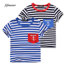 2016 striped o-neck short sleeved T-shirt new Summer children's clothing boys children Tees