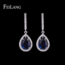 FEILANG Brand Trendy Style White Gold Plated Water Drop Top Quality Swiss Cubic Zircon Women Dangle Drop Earrings (FSEP388)(China (Mainland))
